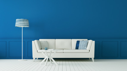 The classic blue living room & luxury interior wall / 3D rendering