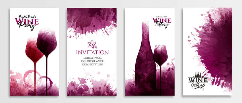 Templates with wine designs. Red wine stains Illustration of glass and bottle of wine.