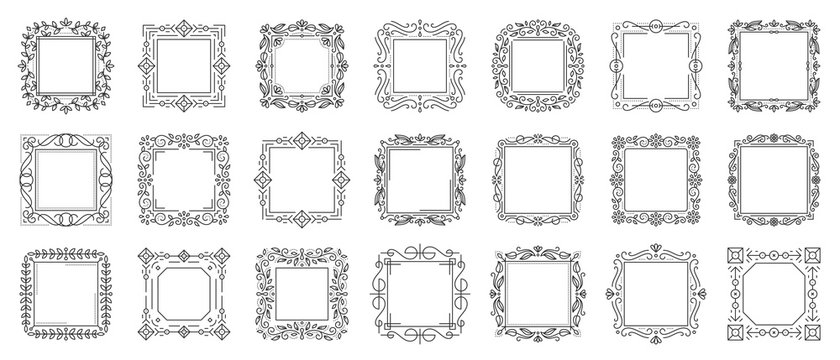 text frame monogram decor design banner vector set