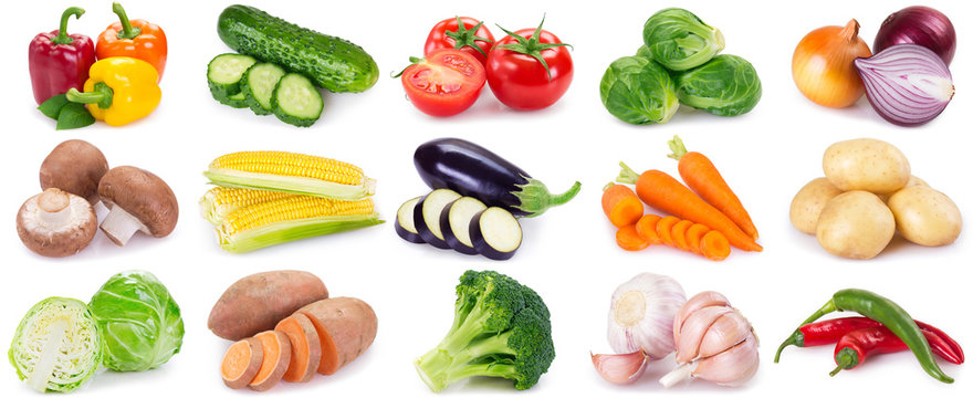 Collection of fresh vegeables on white background