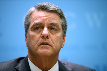 WTO Director-General Azevedo attends a news conference in Geneva
