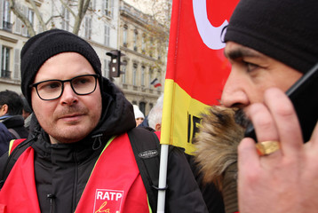 Paris transport network (RATP) metro driver Yannick Stec is seen during a demonstration against French government's pensions reform plans in Paris