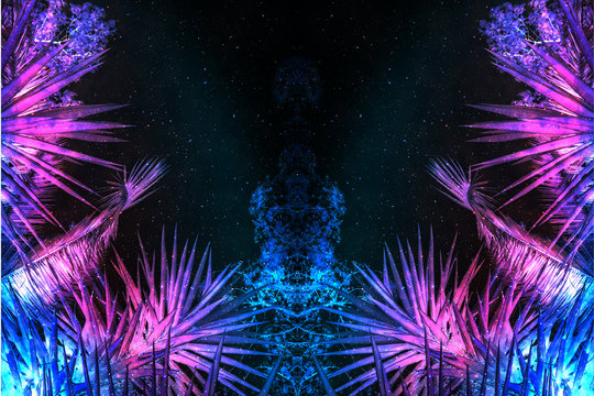 Beautiful abstract surreal landscape palm tree and space cosmos collage concept, contemporary colors and mood social background.