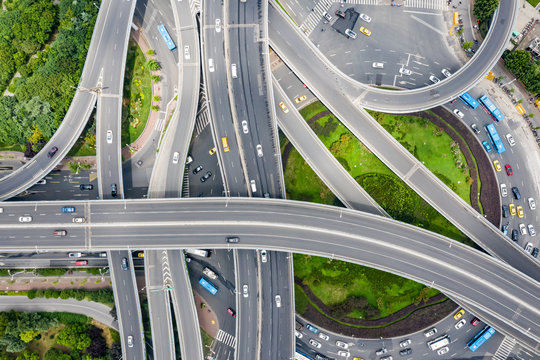 Aerial view of a massive highway intersection