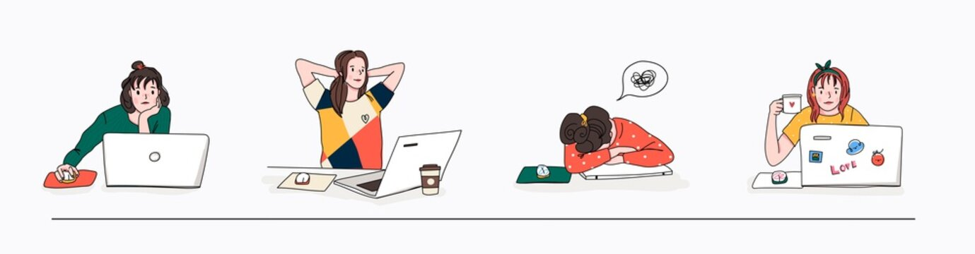 Stylish young women using laptops. Studying, browsing internet, social media, blogging. Online education or communication concept. Set of four hand drawn vector illustrations. Cartoon style