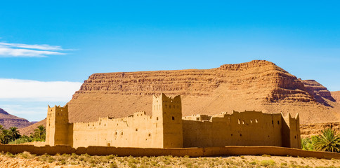 Amazing view of Kasbah Ait Ben Haddou near Ouarzazate in the Atlas Mountains of Morocco. UNESCO World Heritage Site