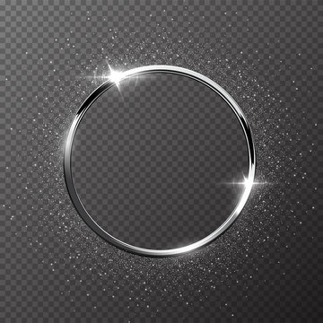 Silver sparkling ring with silver glitter isolated on transparent background. Vector metal frame.