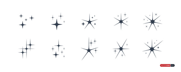 Sparkle Star Icons Set isolated on white background. Flat Vector Icon Design Template Elements Wall mural