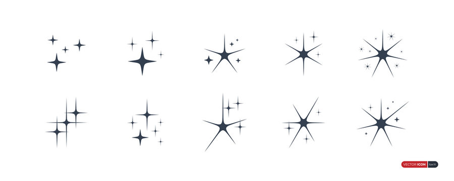 Sparkle Star Icons Set isolated on white background. Flat Vector Icon Design Template Elements