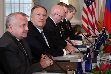 U.S. Secretary of State Pompeo and his delegation sit down for a meeting with Russia's Foreign Minister Lavrov at the State Department in Washington