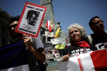 Protesters attend a demonstration marking the Human Rights day in Santiago