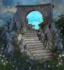 Fototapete - Flight of stairs leading to a magic gateway at evening time