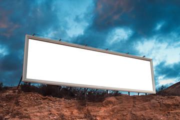 Blank white billboard on hill Papier Peint