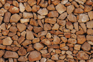 Poster Firewood texture Old Stone Wall Background