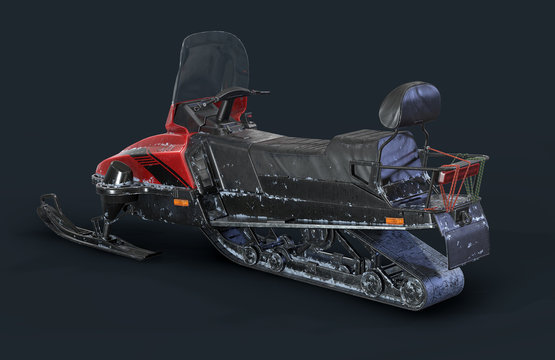 Snowmobile on the background 3d illustration