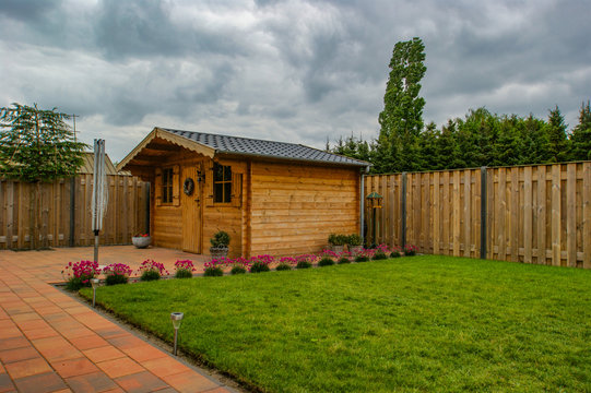 wooden garden shed in the backyard
