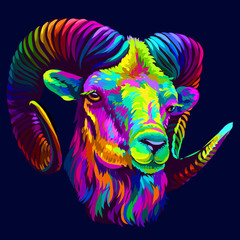 Spoed Fotobehang Pop Art Mountain sheep. Abstract, colorful, neon portrait of a mountain sheep on a dark blue background in pop art style.
