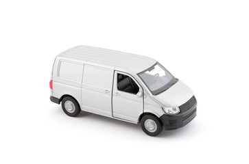Transport silver van car on white background with clipping path