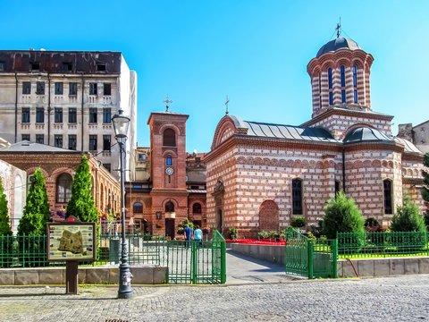 Curtea Veche and Annunciation Church of Saint Anthony in Bucharest, Romania. Old Princely Court is the tourist attraction of the era of Vlad III Dracula in the historic centre of Bucharest