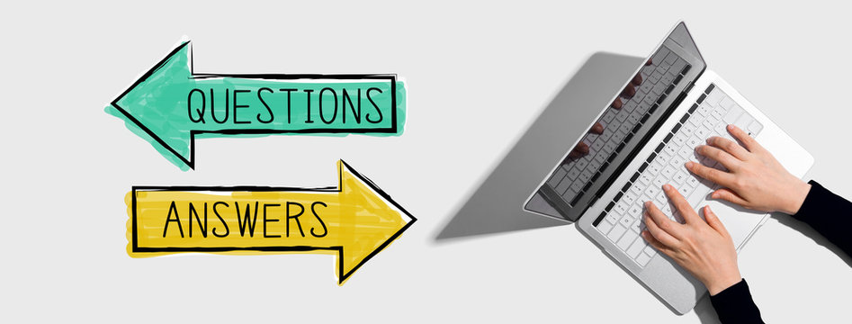 Questions and answers with person using a laptop computer