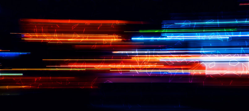 Abstract motion glowing light trails with fractal on the dark background