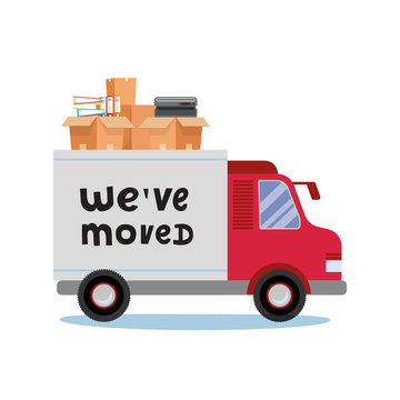 Moving truck and cardboard boxes. Moving Office stuff. Transport company. Trusk side veiw with lettering quote We've moved. Vector cartoon style illustration