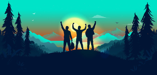 Door stickers Green coral Winning team in landscape - three friends on hilltop cheering with hands in air. Exited men on a journey reaching their goals. Success, winners and team building concept. Vector illustration.