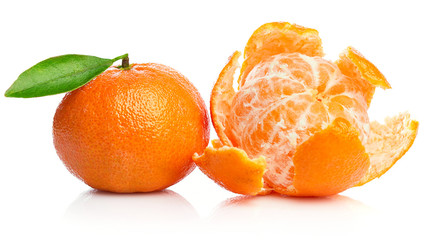 Ripe tangerines with green leaf in cut for design packing. Fruity still life citrus. Isolated on white background.