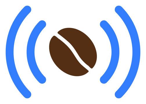 Coffee wifi spot vector icon. Flat Coffee wifi spot symbol is isolated on a white background.