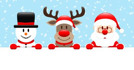Schneemann Rentier Und Weihnachtsmann Halten Horizontales Banner Blau