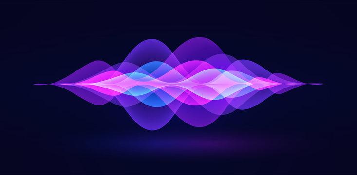 Voice recognition. Personal assistant. Smart music sound waves or voice recognition technology. Soundwave intelligent technologies. Vector illustration. Volume curve energy waveform. Neon Ai concept.