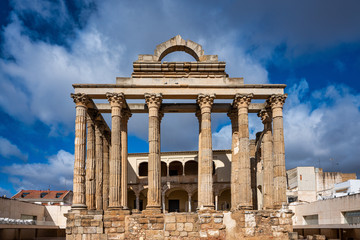 Fotobehang Bedehuis The Roman temple of Diana in Merida, province of Badajoz, Extremadura, Spain