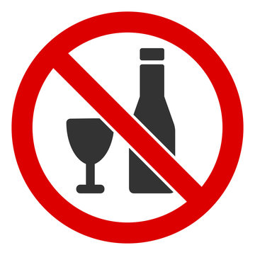 No alcohol vector icon. Flat No alcohol pictogram is isolated on a white background.