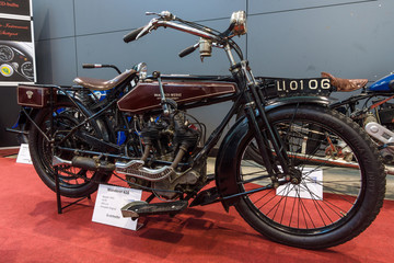 """STUTTGART, GERMANY - MARCH 02, 2017: Motorcycle Wanderer Model V (616), 1923. Europe's greatest classic car exhibition """"RETRO CLASSICS"""""""