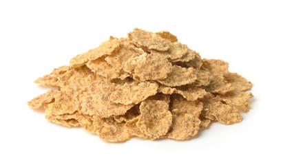 Pile of organic bran flakes