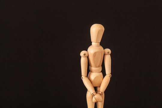 wooden mannequin with hands front quiet reserved