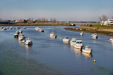 Port on the La Vie river at Saint-Gilles-Croix-de-Vie, commune in the Vendée department in the Pays de la Loire region in western France
