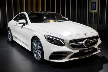 BRUSSELS - JAN 10, 2018: Mercedes Benz S-Class Luxury Coupe car shown at the Brussels Motor Show.