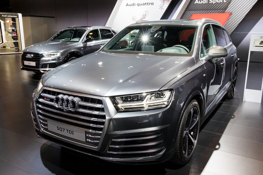 BRUSSELS - JAN 10, 2018: Audi SQ7 car showcased at the Brussels Motor Show.