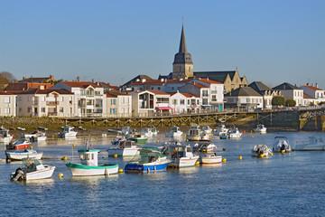 Port of Saint-Gilles-Croix-de-Vie, with Saint Gilles church in the background, commune in the Vendée department in the Pays de la Loire region in western France