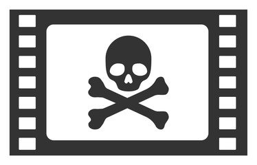 Stolen movie vector icon. Flat Stolen movie pictogram is isolated on a white background.