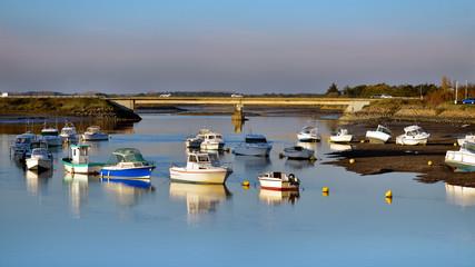 Panoramic photo of port on the La Vie river at Saint-Gilles-Croix-de-Vie, commune in the Vendée department in the Pays de la Loire region in western France