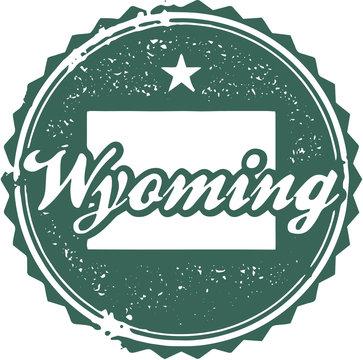 Vintage Wyoming USA State Stamp