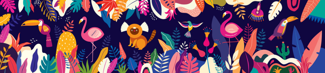 Vector colorful illustration with tropical flowers, leaves, monkey, flamingo and birds. Brazil tropical pattern.