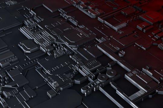 Futuristic circuit board. Science fiction technology design