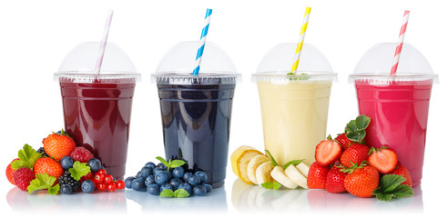 Collection of fruit smoothies fruits juice drink straw in a cup isolated on white