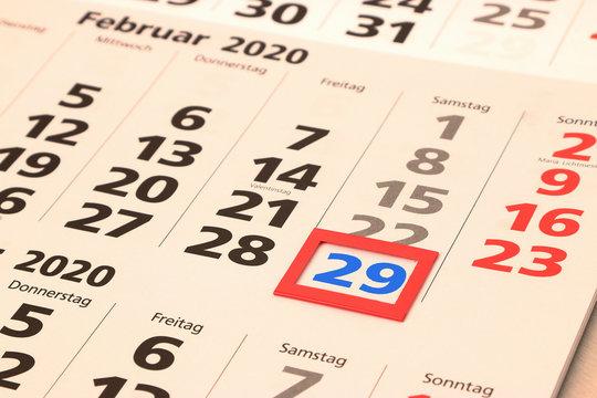 Schalttag 29 Februar 2020, Kalenderblatt