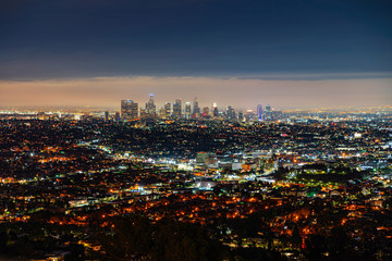 View of the night city, Los Angeles Fototapete