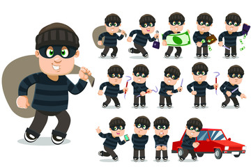 Big vector cartoon set with robber, burglar who stealing money, wallet, handbag, smartphone, cracking car lock, running away, committing crimes with knife and picklock, standing in handcuffs.