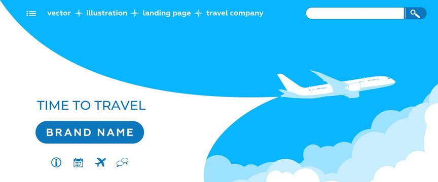 Air ticket sale - Landing page template. Sky scenery background - dark blue sky, clouds, flying planes, website icons. Vector illustration